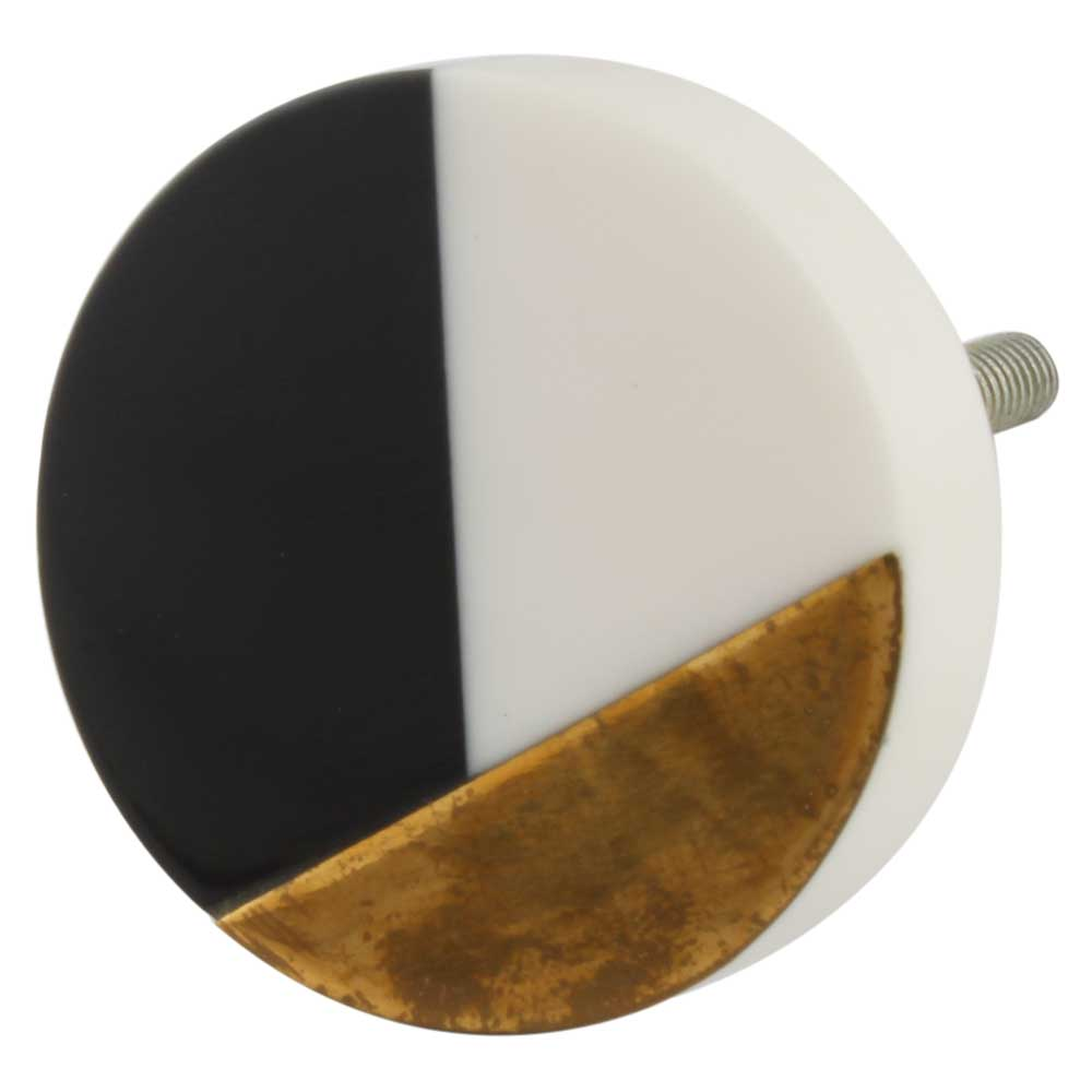 Black Wood Brass Resin Round Dresser knob