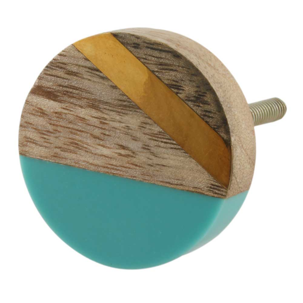 Round Wooden And Resin Cabinet Knob