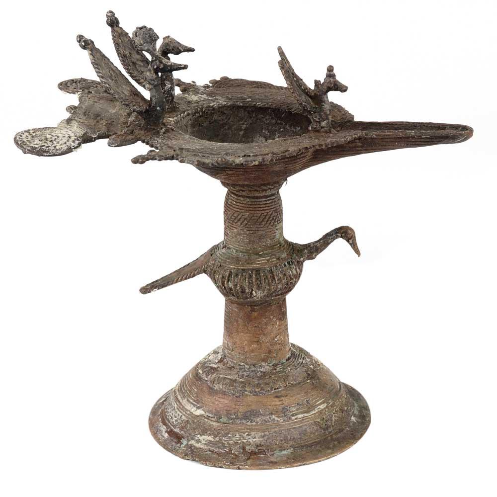 Brass Oil Lamp Diya DeepakWith Peacock Figurines
