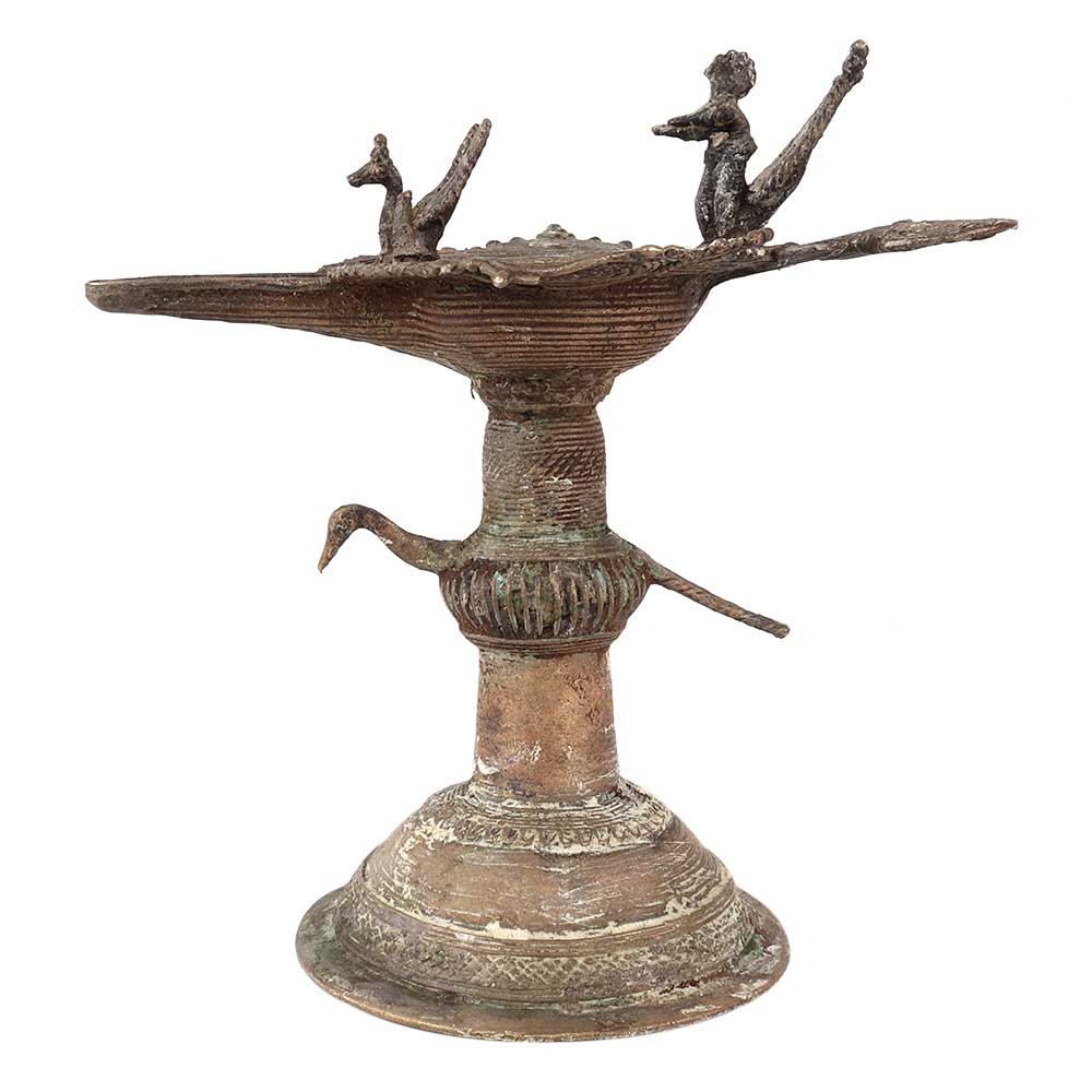 Brass Oil Lamp Diya Deepak With Peacock Figurines