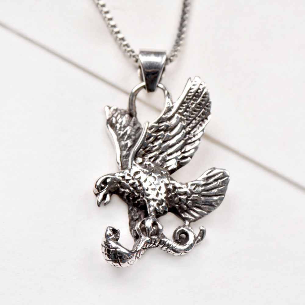 92.5 Sterling SilverEagle Pendant Flying Bird Necklace Charm Jewellery