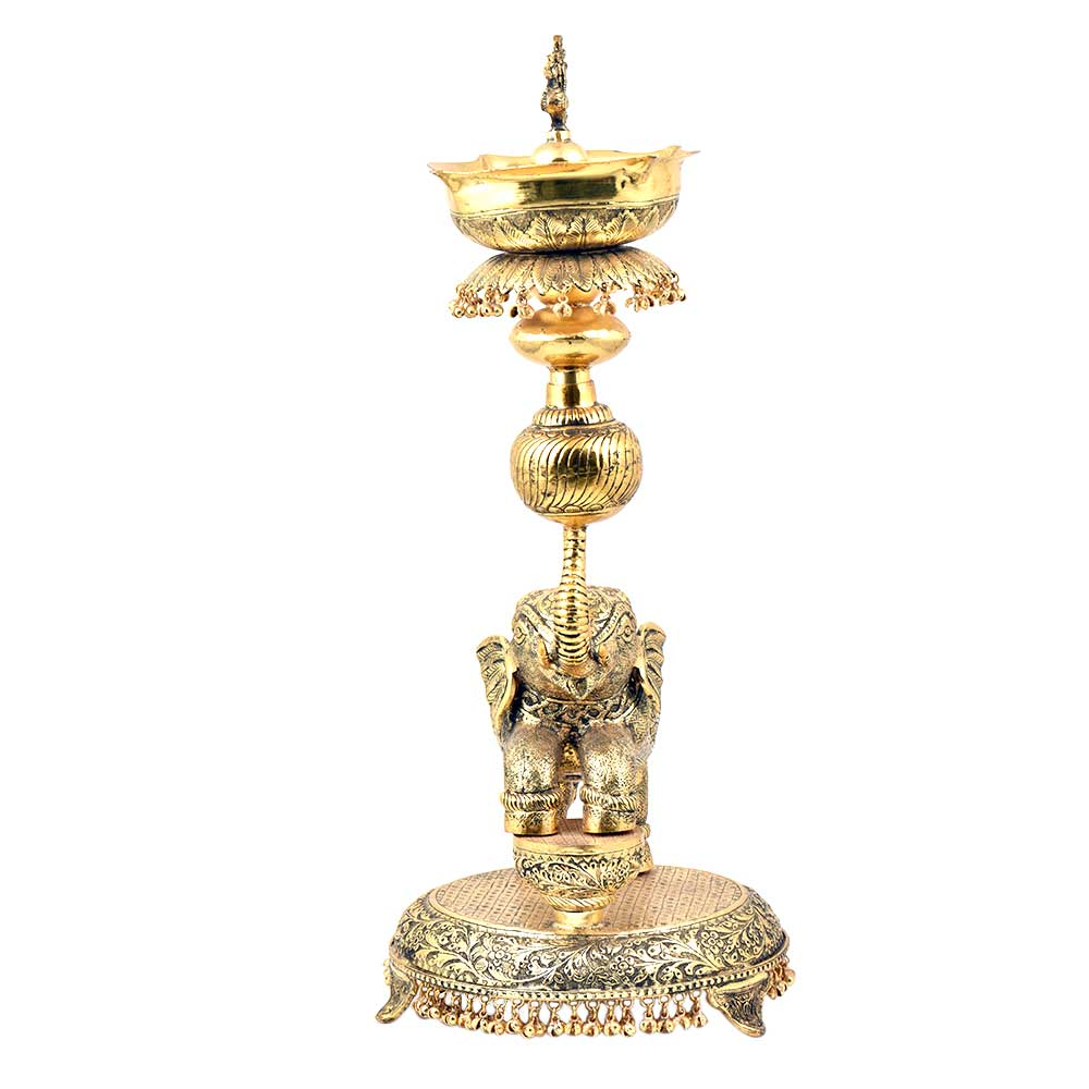Tall  Artistic Oil Lamp With Elephant Peacock Figurines Leaves and Ghungroos