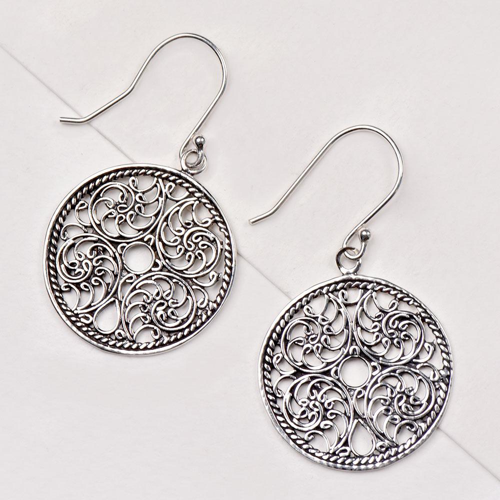 92.5 Sterling Silver Earrings Filigree Drop Round Hoop Cut Out Disc