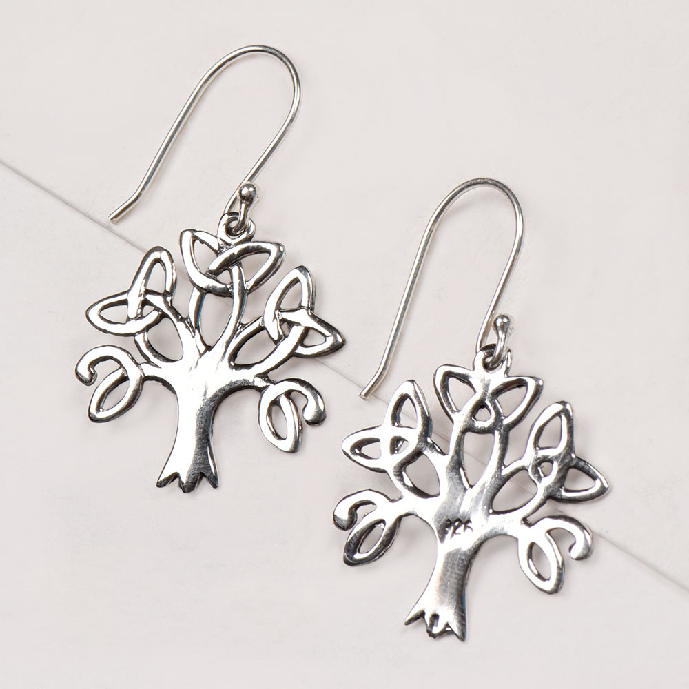 92.5 Sterling Silver Tree Of Life Drop Earrings