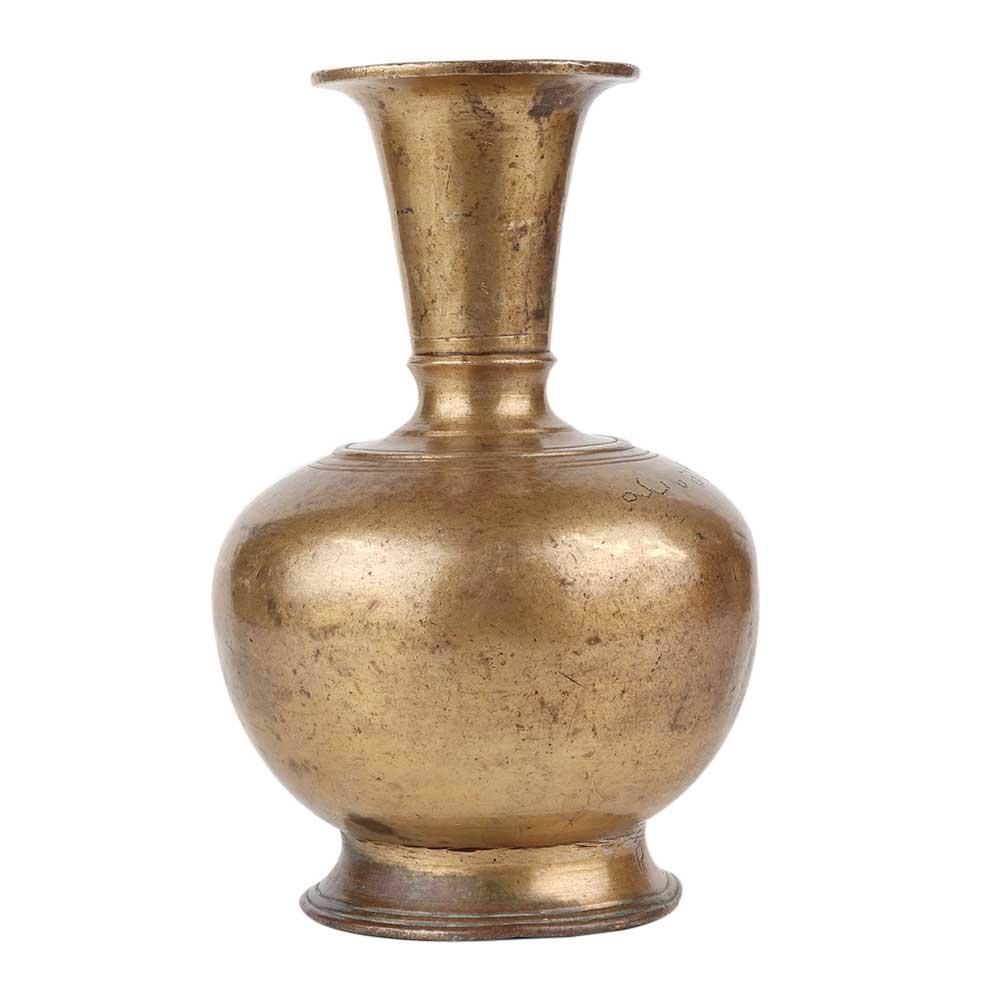Hand Crafted Brass Flower Pot Sleek and Long Mughal Pattern Brass Pot