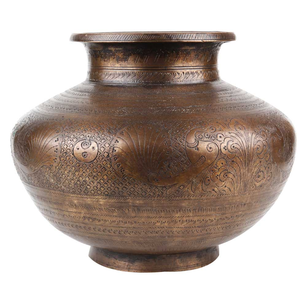 Brass Holy Water Pot With Engraved Lovely Peacock Carvings