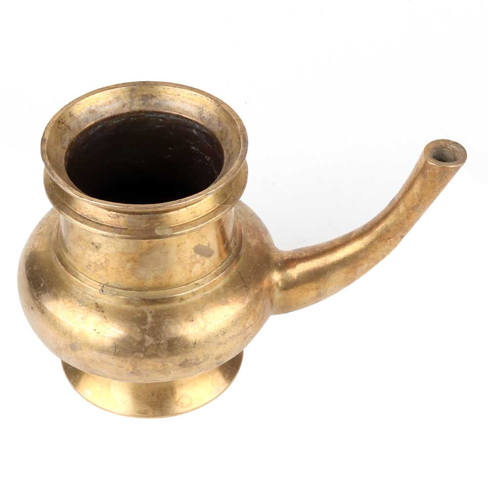 Golden Brass Kindi Water Pot With A Curved Spout