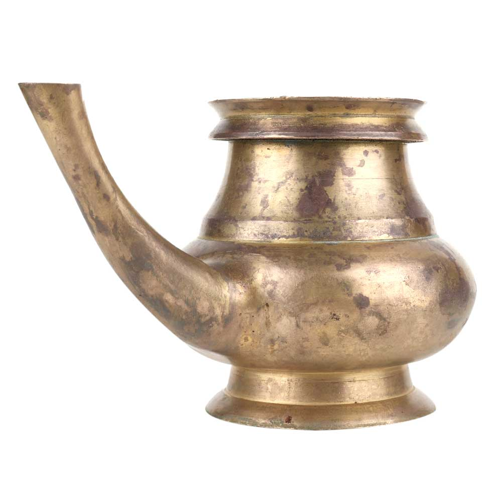 Brass Religious Kindi Water Pot With A Curved Spout