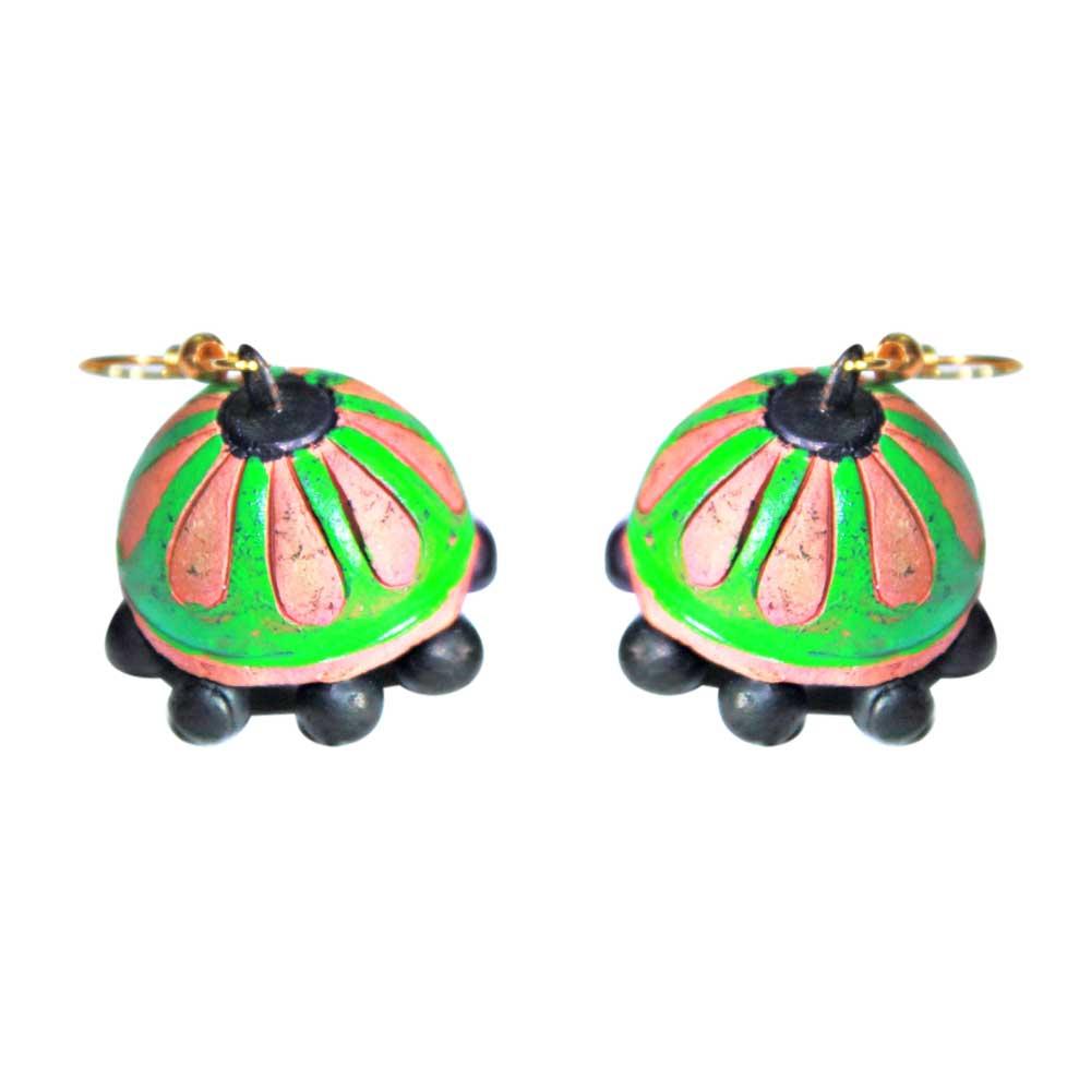 Handmade Terracotta Traditional Green Color Earrings
