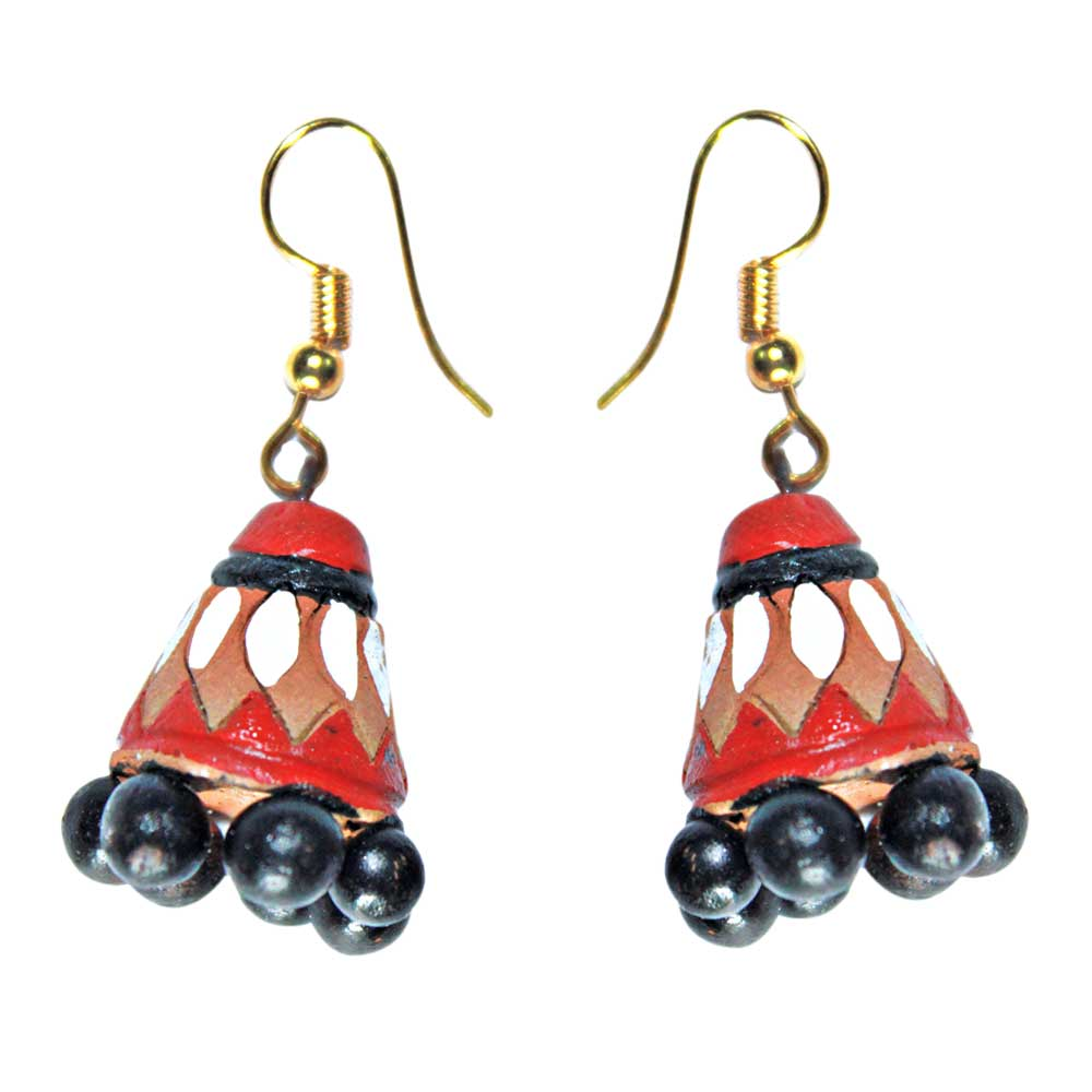 Handmade Terracotta Traditional Red Color Earrings