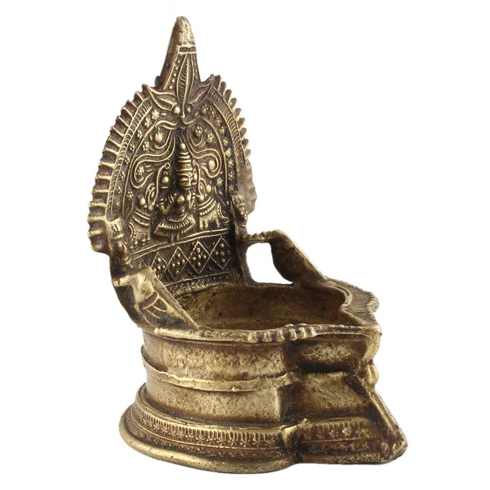 Goddess Lakshmi Engraved Brass Temple Kamakshi Oil Lamp Diya