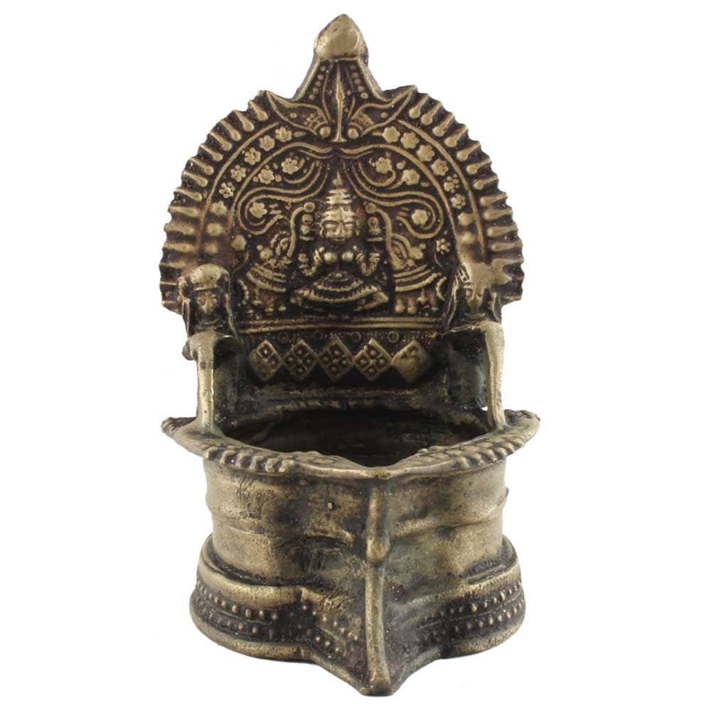 Golden Brass Oil Lamp (Deepak) Hindu Festival Diya