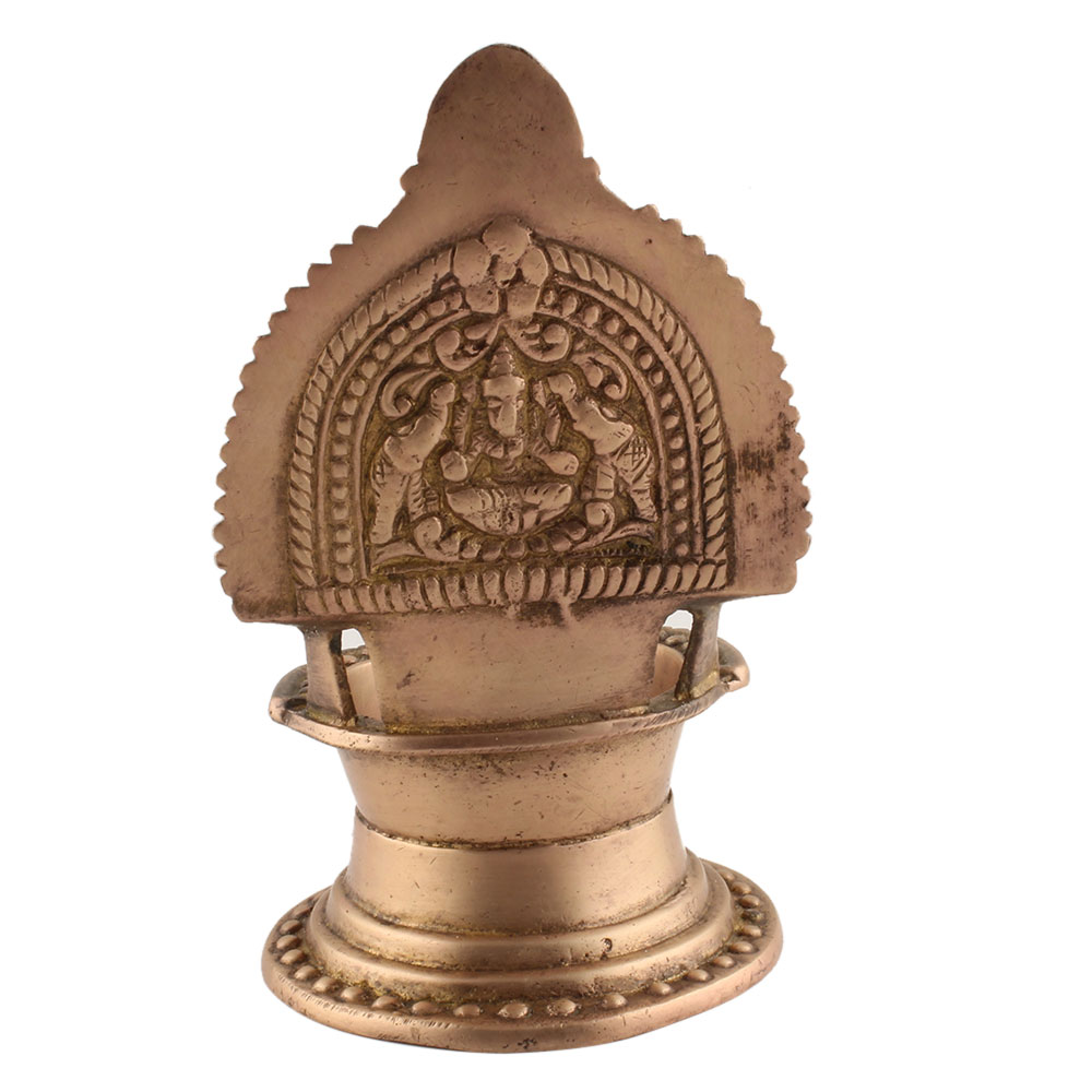 Engraved Ashtadhatu Puja Oil lamp