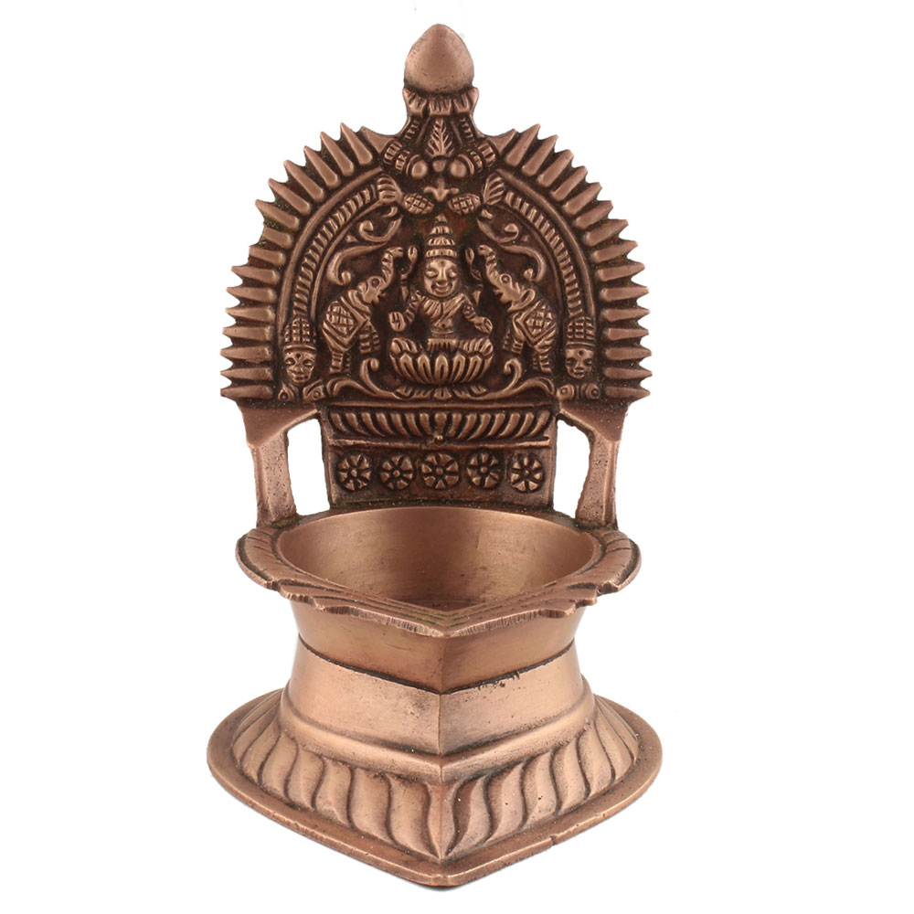 Ashtadhatu Oil Lamp Single Wick Goddess Lakshmi On Back Diya