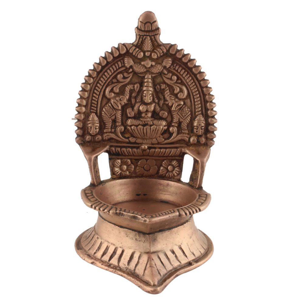 Hand Carved South Indian Ashtadhatu Oil Lamp