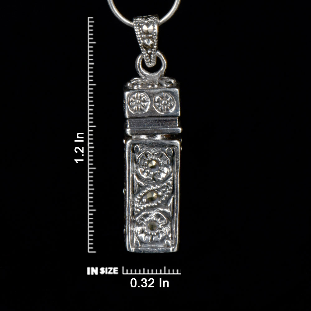 92.5 Sterling Silver Pendant Tubular Shape With Floral Design