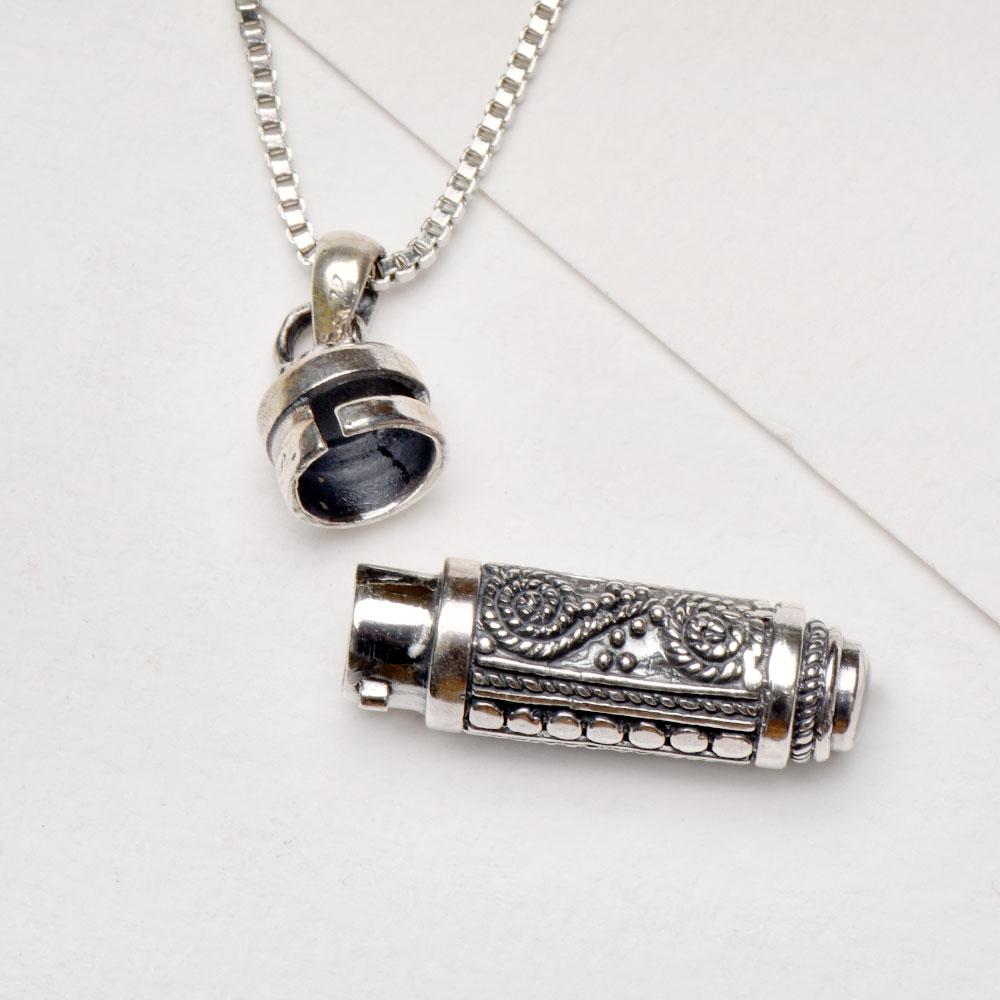 92.5 Sterling silver Filigree Cylinder Shape Pendant