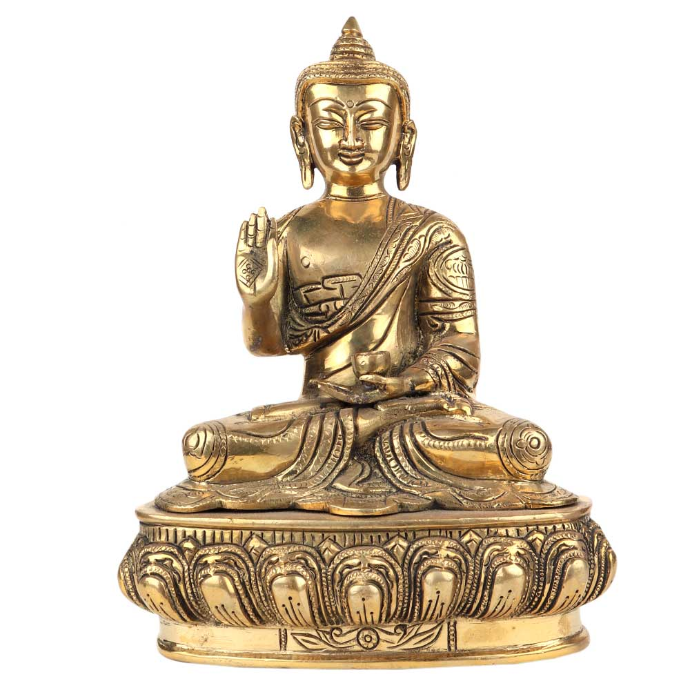 Brass Meditating Blessing Buddha Statue