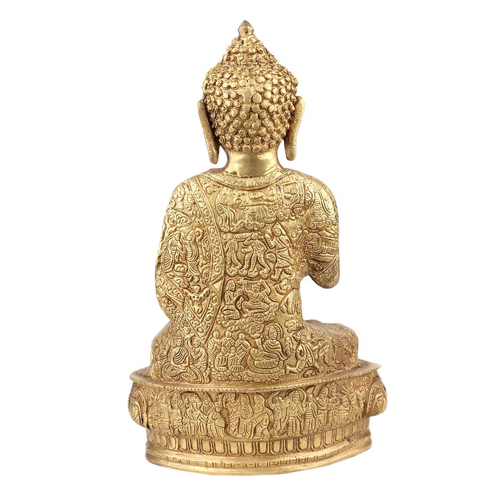 Brass Buddha Life Story Hand Carved on Shawl