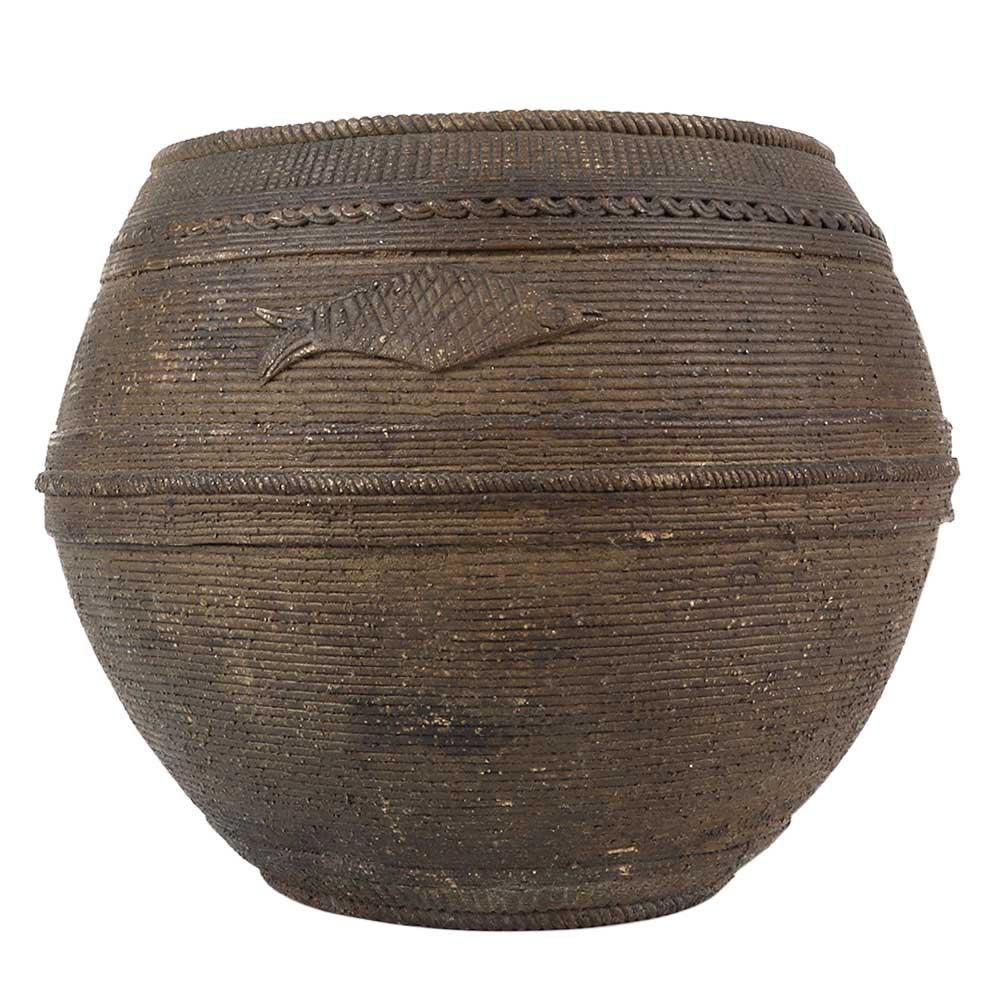 Brass Odisha Rice Measuring Bowl In Dark Finish