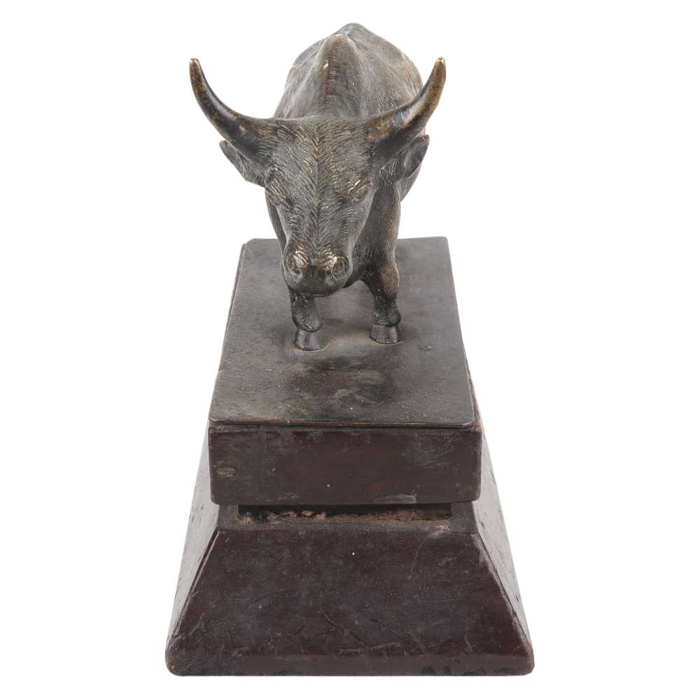 Brass Standing Ox Statue On a Wooden Stand