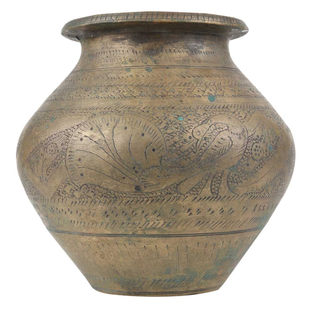 Finely Carved Brass Pot For Hindu Ceremonies