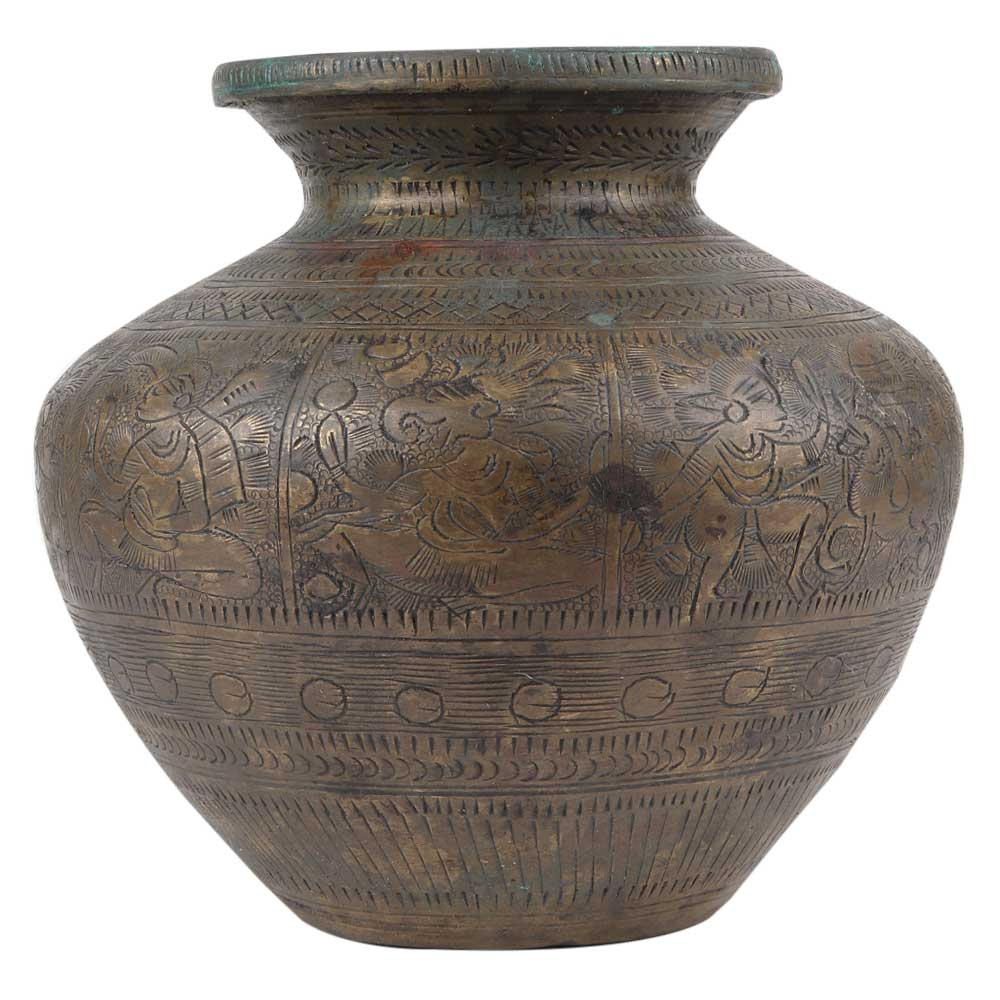 Brass Water Pot With Engraved Human And Animal Motifs