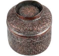 Broad Copper Canister Leafy Pattern Repousse Storage Box With Lid