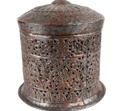 Decorative Copper Box With Lid Jali Cut Work Round Box