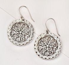 92.5 Sterling Silver Earrings Filigree Floral Disc Earrings