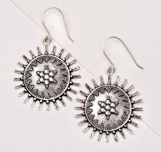 92.5 Sterling Silver Earrings Women Dangle Earrings Sun Flower