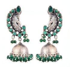 92.5 Sterling Silver Jhumka Earrings  with Peacock Stud  With Green Onyx Beads
