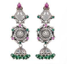 92.5 Sterling Silver Earrings Long Intricate Pink Tourmaline And Green Onyx Studded Jhumkas