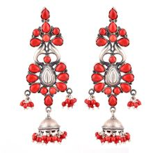 92.5 Stling Silver Earrings Dangler Jhumkis With Red Coral Stones