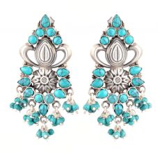 92.5 Sterling Silver Earrings Turquoise Stone Studded Beaded Classic Drop Earrings