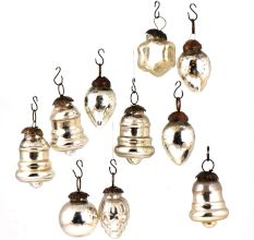Set of 10 Handmade Silver Glass Christmas Ornaments In Assorted Styles
