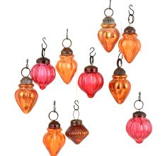 Set of 10 Handmade Orange And Pink  Glass Christmas Ornaments In Assorted Styles