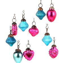 Set of 25 Handmade Pink  And Blue Glass Christmas Ornaments In Assorted Styles