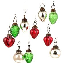 Set of 10 Handmade Green Red And Silver Mini Christmas Ornaments In Assorted Styles