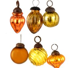 Set of 25 Handmade Yellow Golden Mini Christmas Ornaments In Assorted Styles
