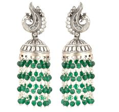 92.5 Sterling Silver Earrings Peacock Stud Green Onyx Stones Chandelier Jhumkis