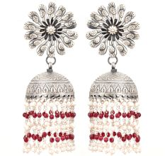 92.5 Sterling Silver Earrings Peacock Floral Stud Red Onyx Tassel Jhumkis For Women