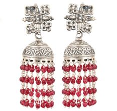 92.5 Sterling silver Earrings With Floral Stud Red Beads Tassel Chandelier Earrings