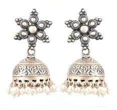 92.5 Sterling silver Earrings Engraved Big Floral Stud and Tassels silver jhumkis