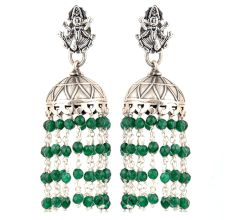 92.5 Sterling Silver Earrings Goddess Figurine Stud Jhumki Green Onyx Tassel Hangings