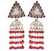 92.5 Sterling Silver Earrings  Amethyst Triangular Stud Red Onyx Tassel Jhumki Earrings