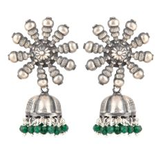 92.5 Sterling Silver Earrings Big Flower Jhumki Green Onyx tassel Hanging  Beads