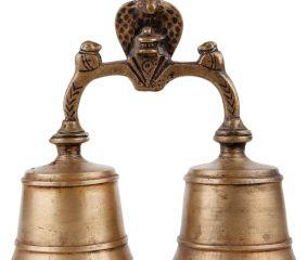 Brass Twin Bell Nandi Lingum Cobra Ritual Bell