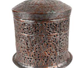 Decorative Copper Box With Lid Jali Cut Work Round Box