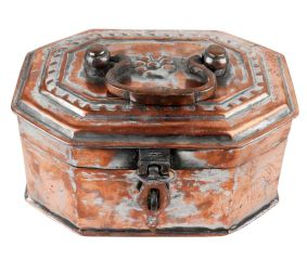 Old Hand Crafted  Eight Sided Copper Jewellery Box